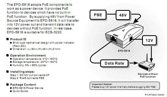 详细介绍 EPD-5818用于从加载有电源的以太网线上分离电源和数据信号。为不具有内置PoE受电模块的设备增加PoE受电功能。 EPD-5818将PoE供电器提供的PoE信号分离为一路12V的电源,以及一路标准的不含电源的以太网信号。  为本身无PoE受电功能的设备增加PoE受电功能 可以通过远程供电 尺寸 82mm*46mm*21mm 工作温度 -0~60 储存温度 -40~80 湿度 5%~95% 可靠性 20000小时